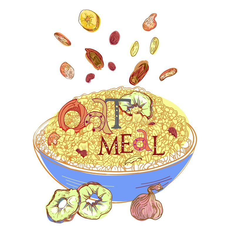 Oatmeal with dehydrated fruits. Cereal with dehydrated fruits in dishes. Healthy food breakfast. Fully editable vector illustration with lettering stock illustration