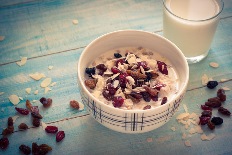 Oatmeal with dried fruit. royalty free stock photography