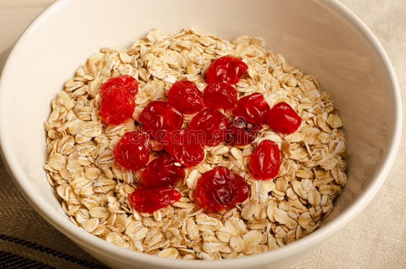 Oatmeal with dried fruits stock images