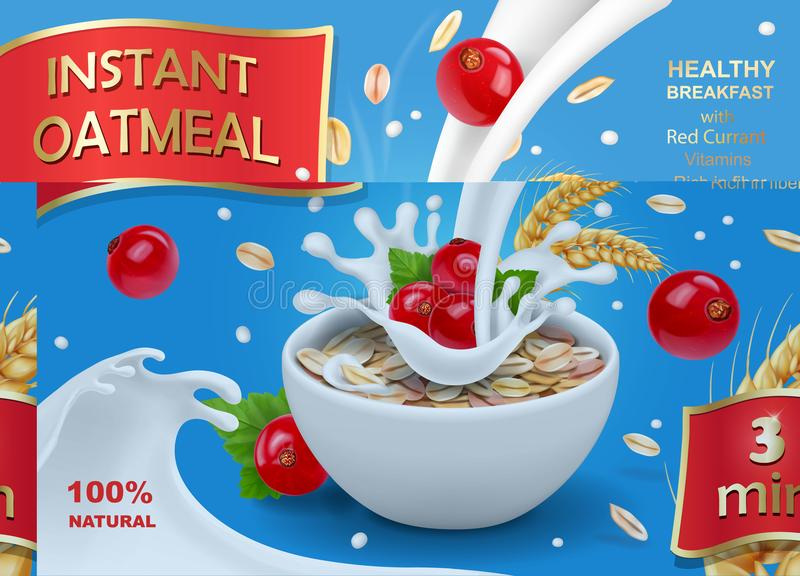 Oatmeal flakes with milk and red currant stock illustration