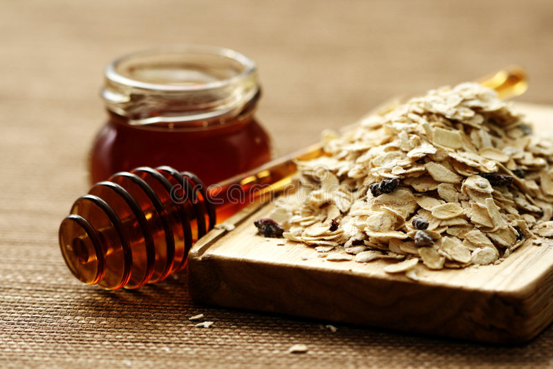 Oatmeal and honey royalty free stock photo