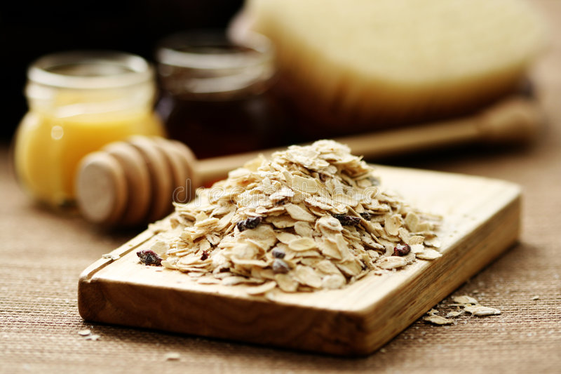 Oatmeal and honey stock photo