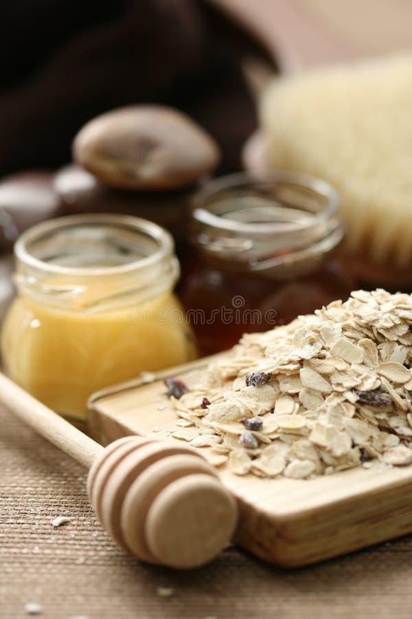 Oatmeal and honey royalty free stock photos