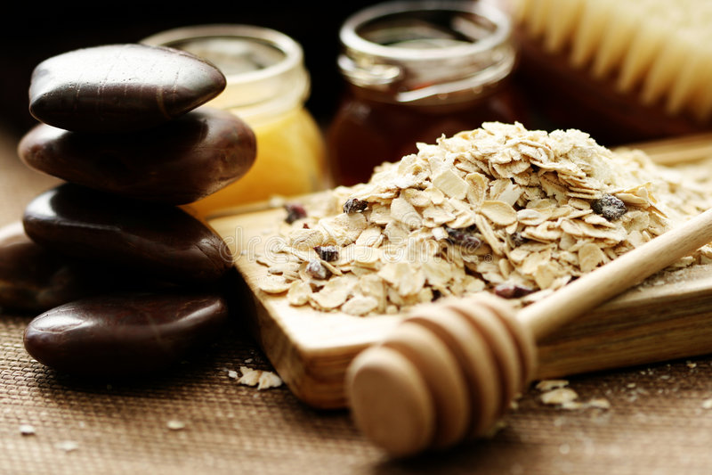 Oatmeal and honey stock photos