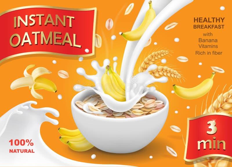Oatmeal muesli with banana and milk splash. Instant oats advertising vector illustration
