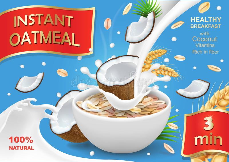 Oatmeal muesli with coconut and milk splash. Instant oats advertising design.  vector illustration