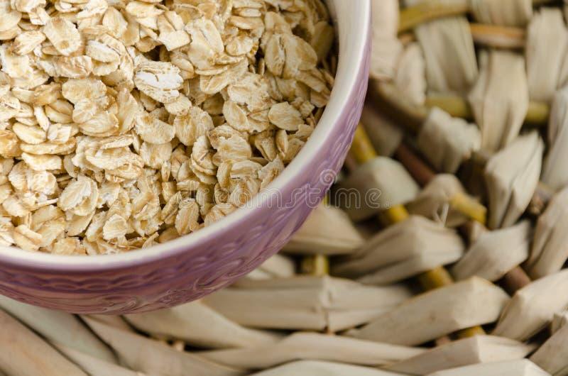 oatmeal Muesli, grani Bello fondo Farina d'avena cruda guar fotografia stock libera da diritti