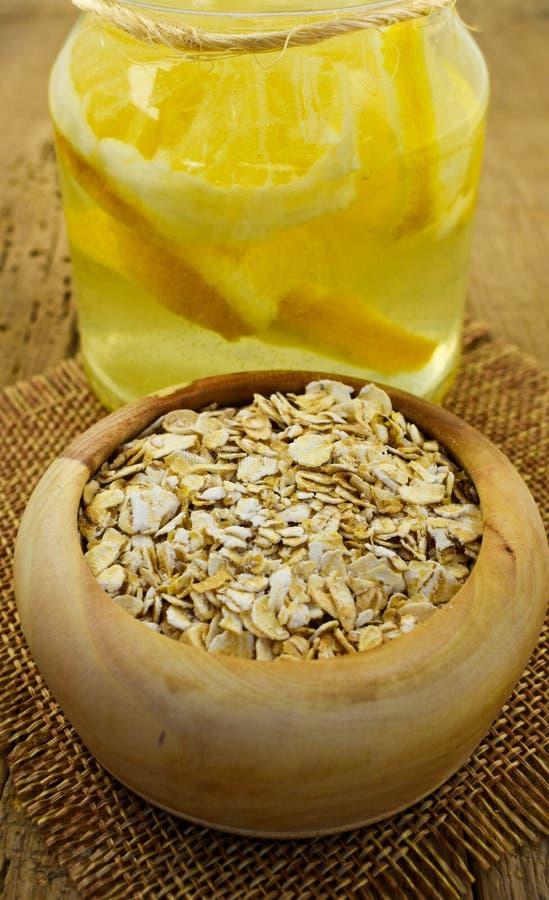Oatmeal oat flakes  healthy food lemon water slim stock images