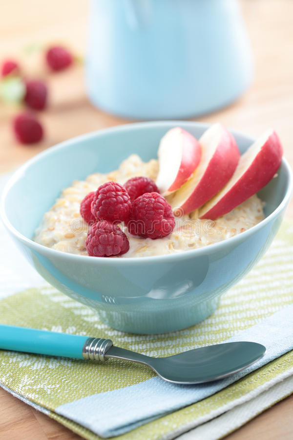 Oatmeal porridge with fruits royalty free stock images