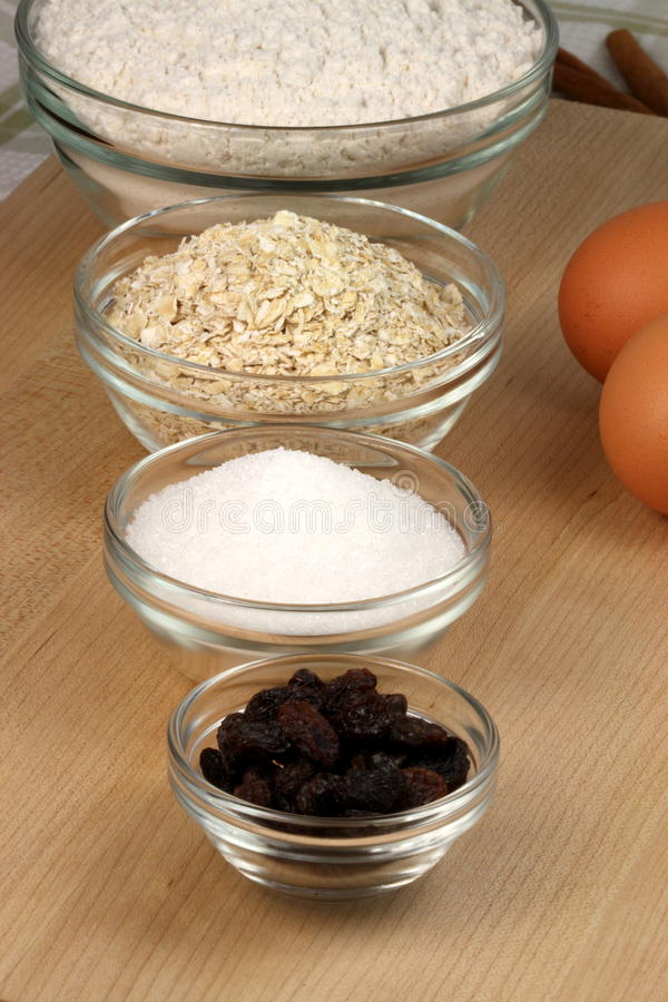 Oatmeal And Raisins Cookies Ingredients Stock Photography