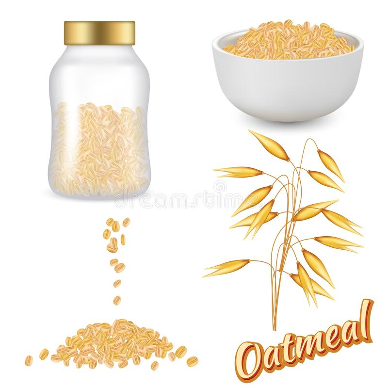 Oatmeal set vector realistic illustration royalty free illustration