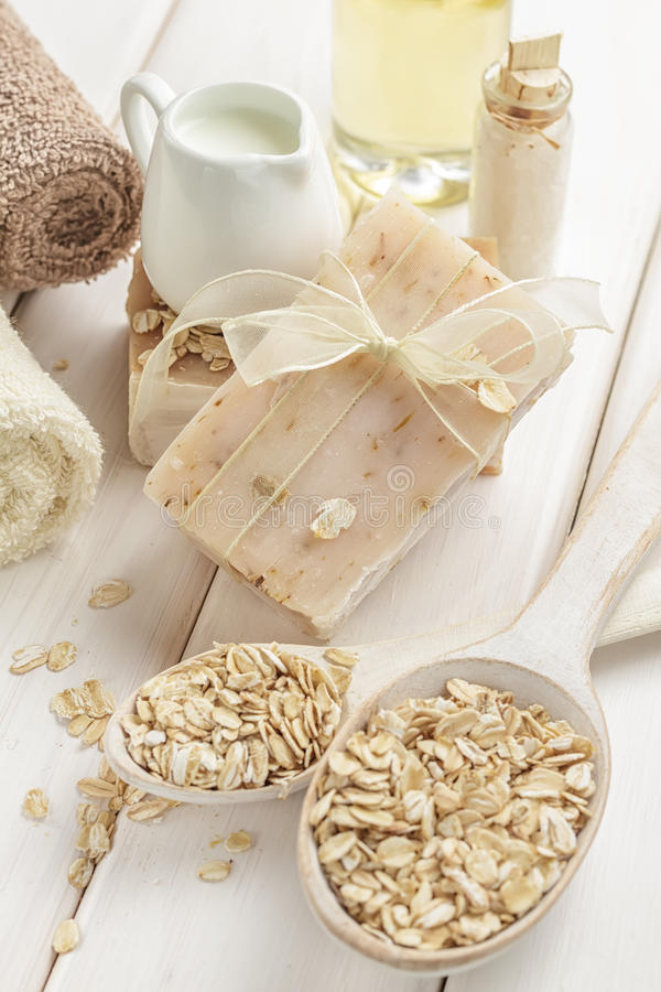 Download Oatmeal soap stock photo. Image of cosmetics, heap, peeling - 29004426