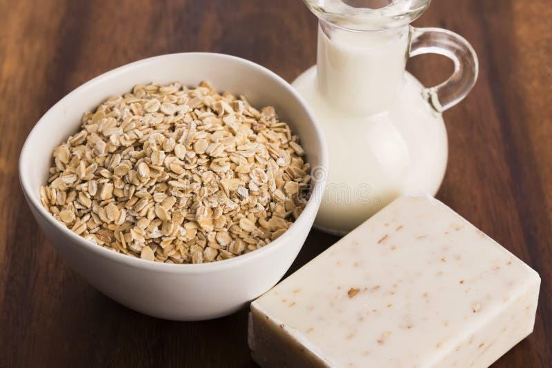 Oatmeal soap stock photography