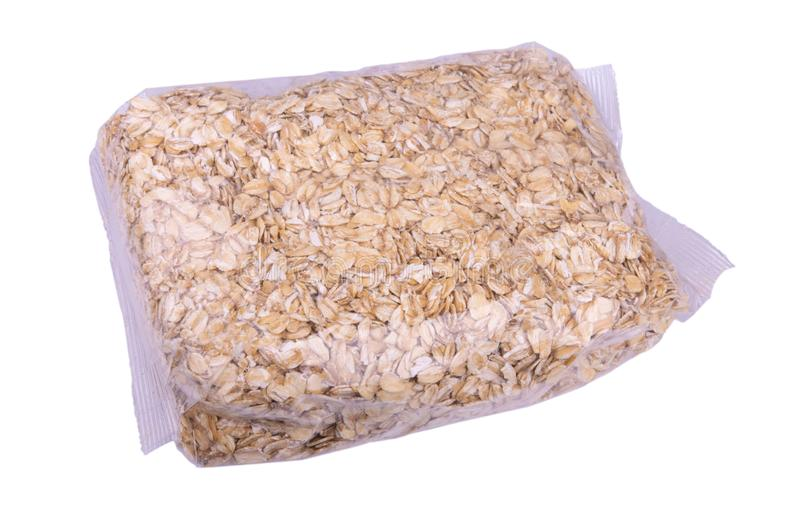 Oatmeal in a transparent package stock image