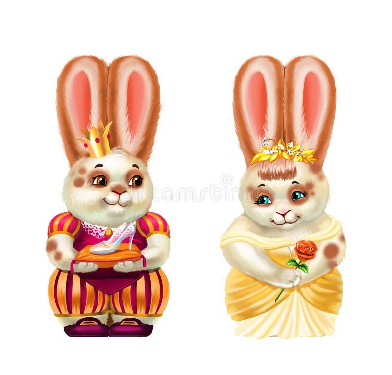 Oavbrutet tjata prinsen och cinderella, vit i röda fläckar som isoleras på vit royaltyfri illustrationer