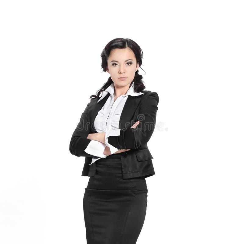 Oavkortad tillväxt allvarlig kvinna för affär Isolerat på vit royaltyfria foton