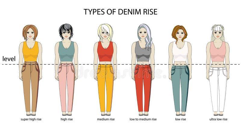 OAVKORTAD TILLVÄXT för kvinnor Typer av jeans stiger olika frisyrer Plan design st?ll in samlingen stock illustrationer
