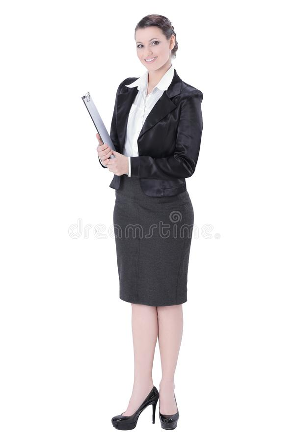 Oavkortad tillväxt Utövande affärskvinna med dokument royaltyfria bilder
