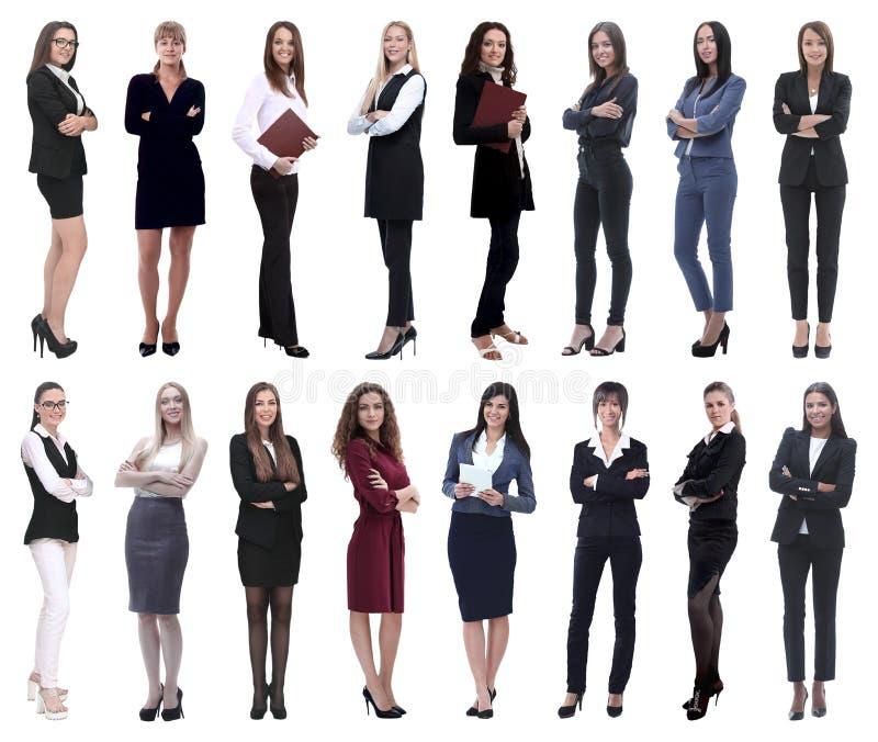 Oavkortad tillv?xt collage av en grupp av lyckade unga aff?rskvinnor royaltyfri foto