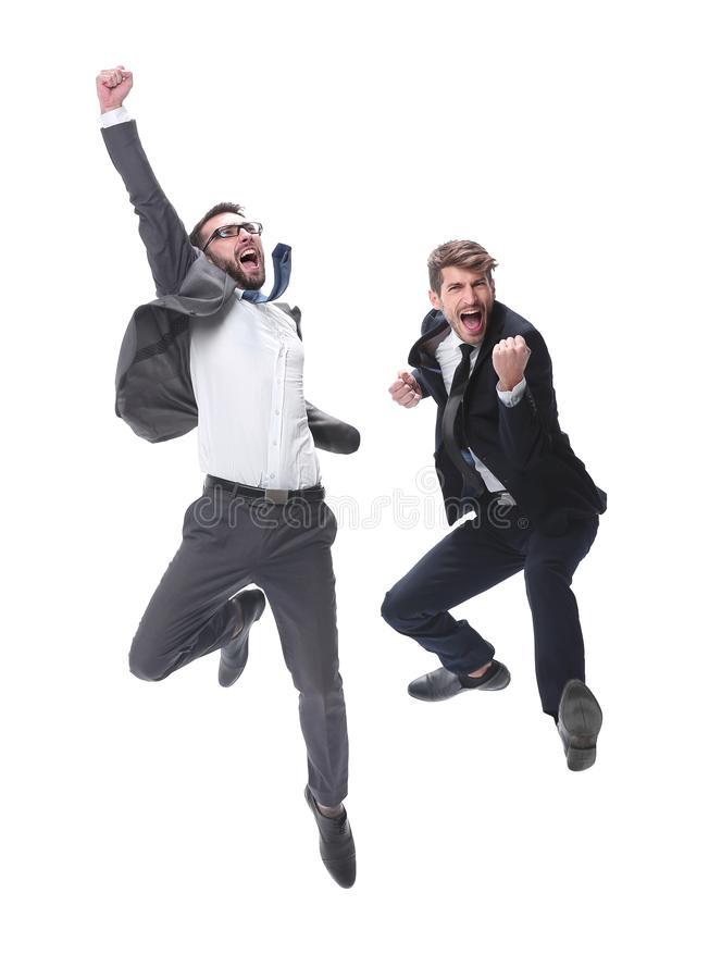 Oavkortad tillv?xt två gladlynta dansa affärspersoner royaltyfri foto