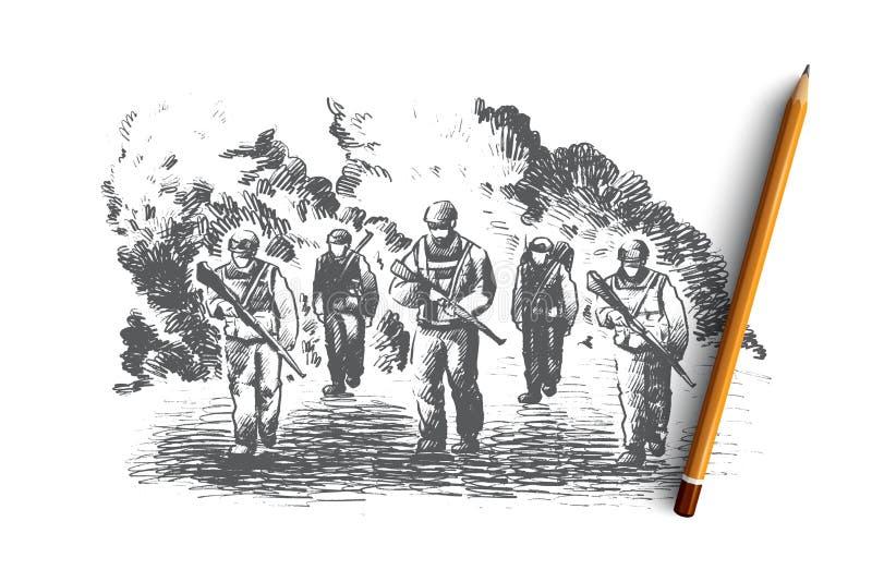 oavkortat kugghjul för soldater Hand dragen isolerad vektor vektor illustrationer
