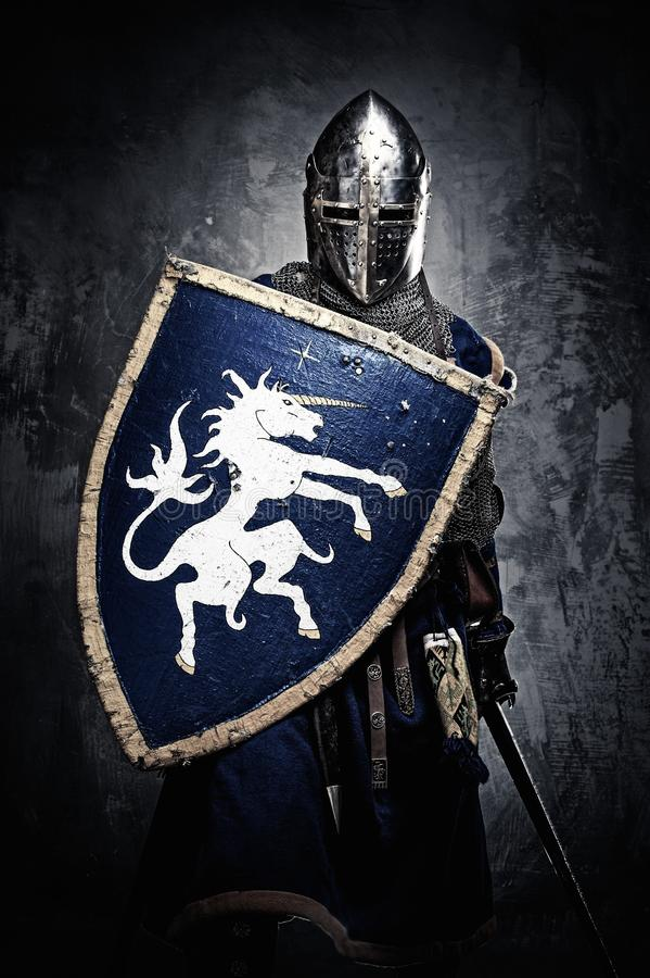 Oavkortat pansar för medeltida riddare arkivbilder