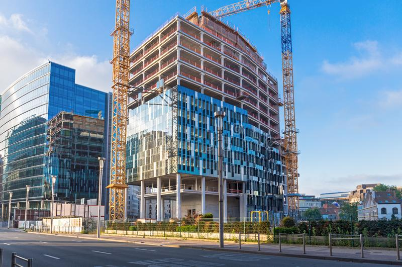Oavslutad EU-byggnad royaltyfria foton