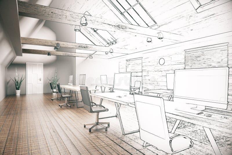 Oavslutat projekt för Coworking kontor royaltyfri illustrationer