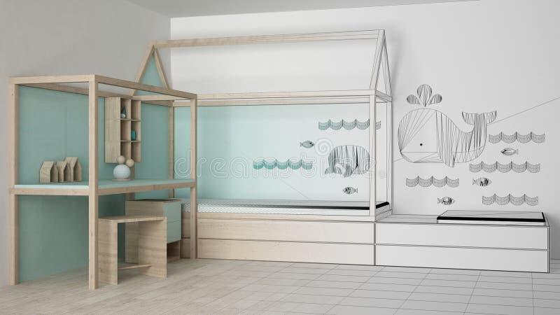 Oavslutat projektutkast av trä och turkosbarnsovrummet med enkel säng och skrivbordet, minimalist arkitekturinre fotografering för bildbyråer