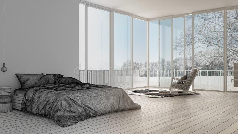 Oavslutat projektutkast, minimalist sovrum med det stora panorama- fönstret, matta och fåtölj, hotell, brunnsort, semesterortfölj stock illustrationer
