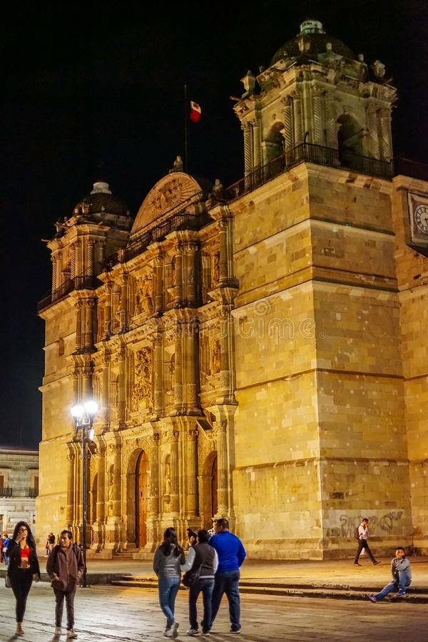 Oaxaca architecture at night, Mexico royalty free stock images
