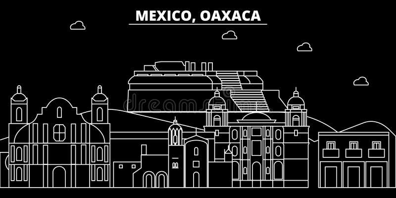 Oaxaca konturhorisont Mexico - Oaxaca vektorstad, mexikansk linjär arkitektur, byggnader Oaxaca lopp royaltyfri illustrationer