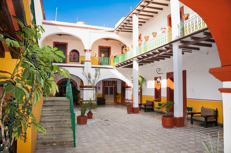 Art of traditional house with indoor in Oaxaca, Mexico. royalty free stock images