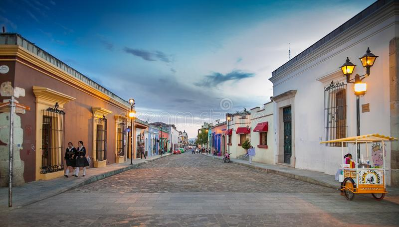 Street of Oaxaca by night, Mexico. stock photos