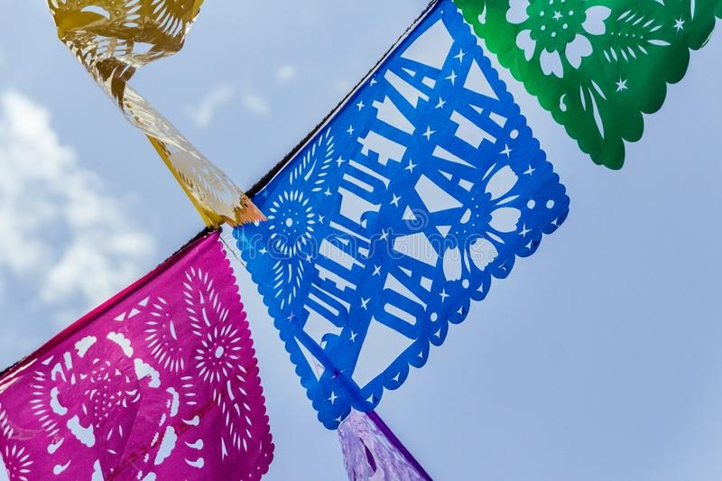 Decoration for Guelaguetza celebration in Oaxaca Mexico. Oaxaca, Oaxaca / Mexico - 21/7/2018: Decoration for Guelaguetza celebration in Oaxaca Mexico stock image