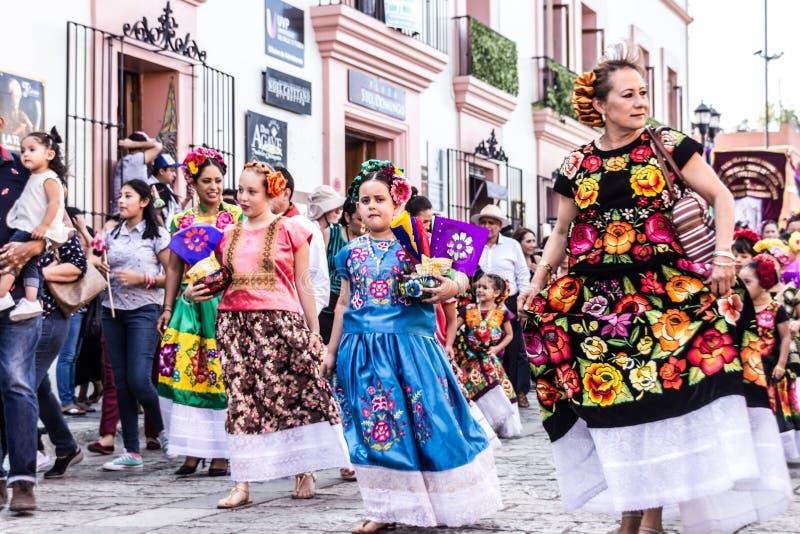Detail of Guelaguetza celebration in Oaxaca Mexico stock photo