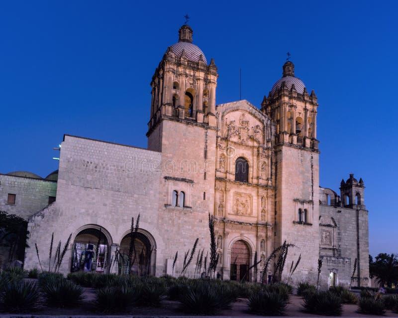 Church of Santo Domingo de Guzman. Oaxaca, Mexico. Oaxaca, Mexico - November 20, 2016:Church of Santo Domingo de Guzman at night, Oaxaca, Mexico royalty free stock photography