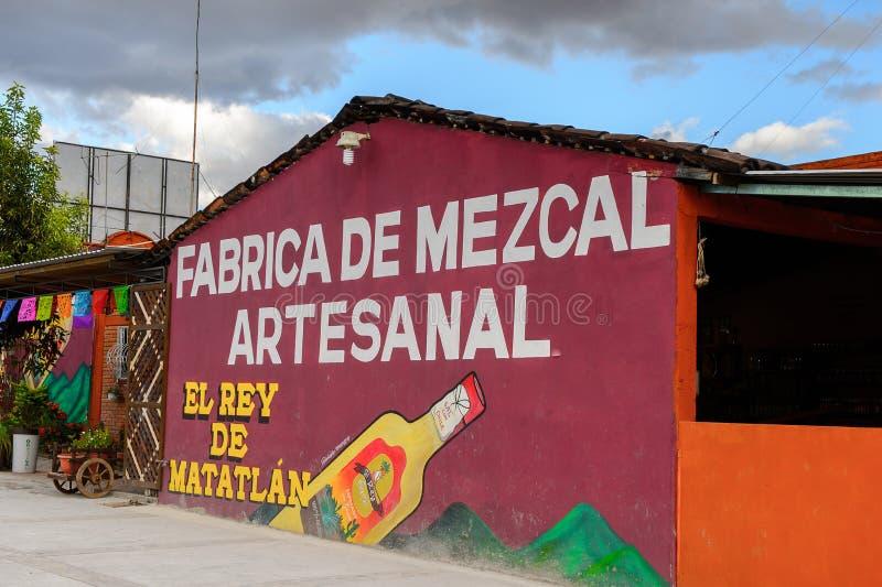 Fabric of Mezcal. OAXACA, MEXICO - OCT 31, 2016: Fabric of Mezcal called El Rey de Matatlan (near Oaxaca, Mexico), which produces a distilled alcoholic beverage stock photo