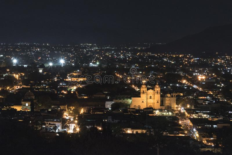 Oaxaca night landscape. Mexico, Oaxaca, view from above of the city at night royalty free stock photos