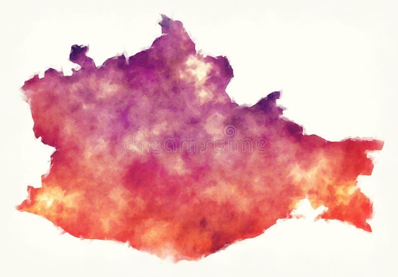 Oaxaca-Staatskarte von Mexiko vor einem weißen Hintergrund stock abbildung