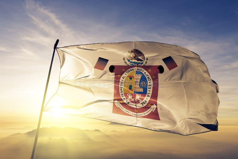 Oaxacastaat van stof die van de de vlag de textieldoek van Mexico op de hoogste mist van de zonsopgangmist golven stock illustratie