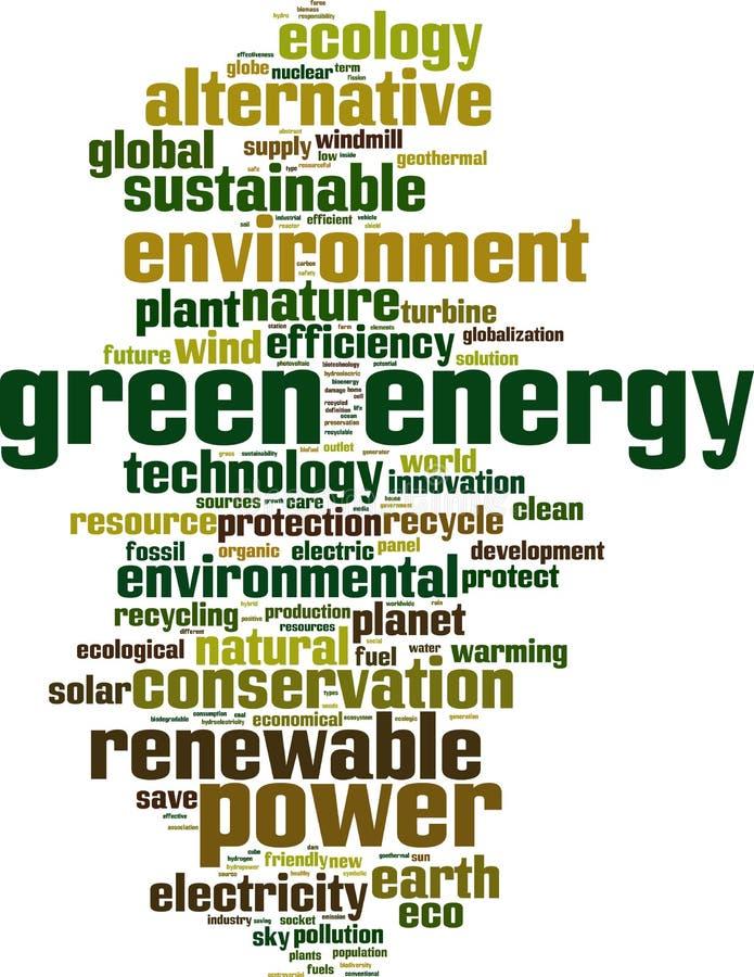 obłoczny energii zieleni słowo ilustracji