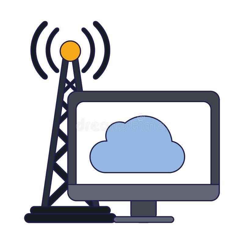 Obłoczny obliczać i anten sygnałowe niebieskie linie ilustracji