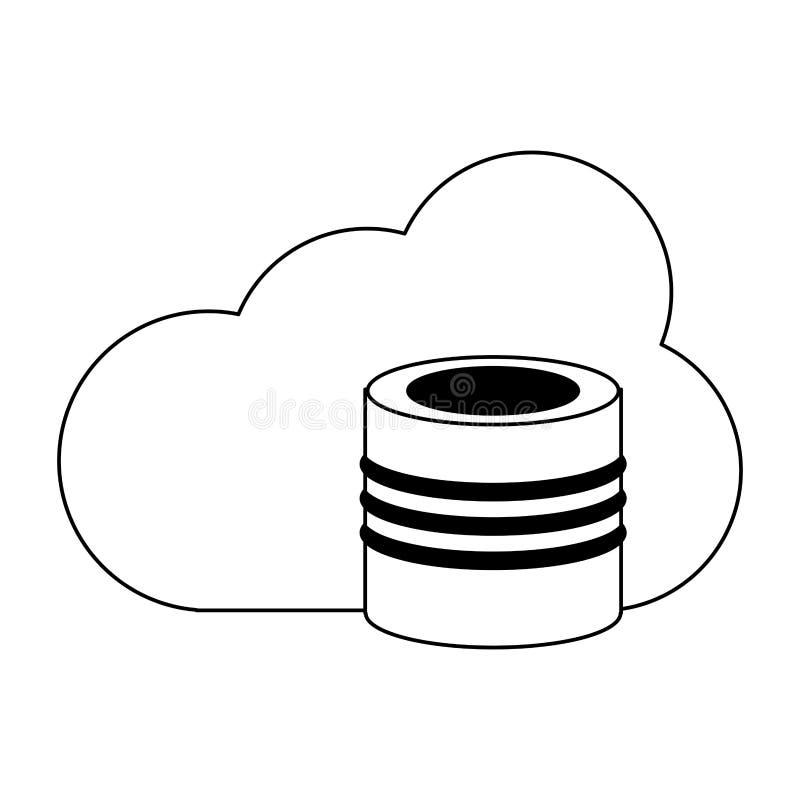 Obłoczny oblicza baza danych symbol w czarny i biały ilustracja wektor