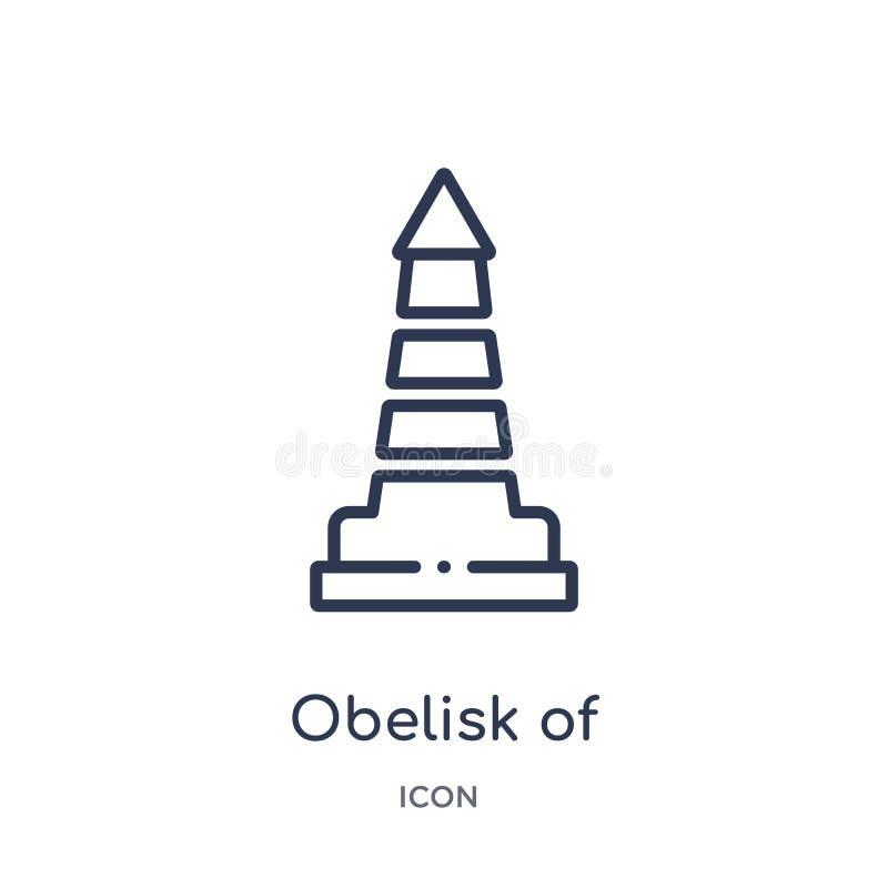 obélisque d'icône de Buenos Aires de collection d'ensemble de monuments Ligne mince obélisque d'icône de Buenos Aires d'isolement illustration libre de droits
