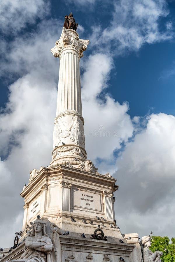 Obélisque dans la place de Rossio, Lisbonne - Portugal photo stock