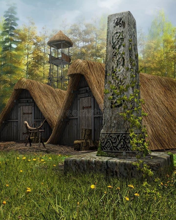 Obélisque dans un vieux village illustration stock