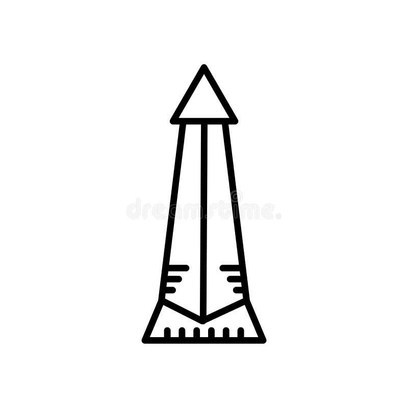 Obélisque de vecteur d'icône de Buenos Aires d'isolement sur le fond blanc, obélisque de signe de Buenos Aires, ligne ou signe li illustration de vecteur