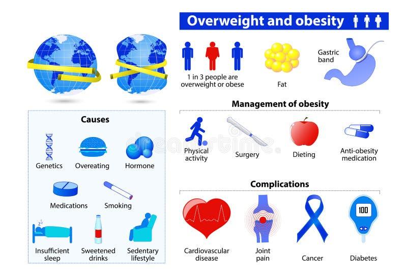 Obésité et infographic de poids excessif illustration stock