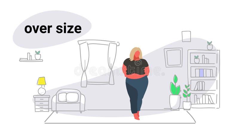 Obésité grasse blonde de fille de grosse femme de poids excessif d'abdomen au-dessus d'intérieur moderne de salon de mode de vie  illustration de vecteur